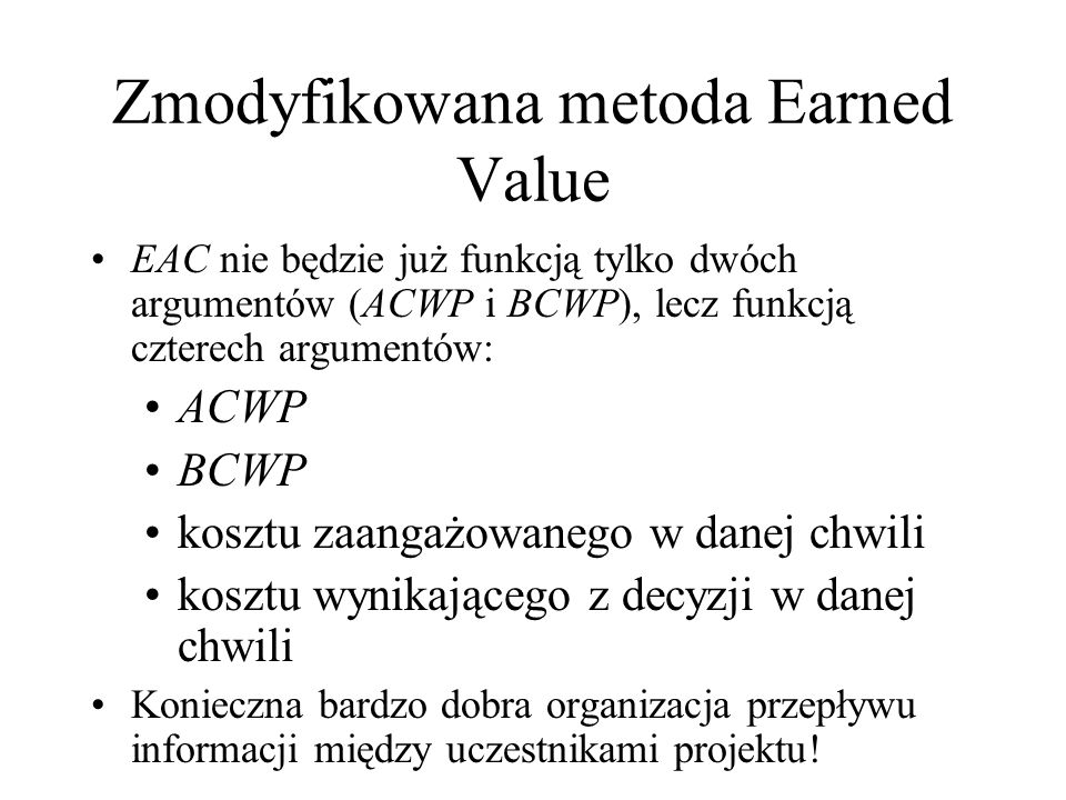Zmodyfikowana metoda Earned Value