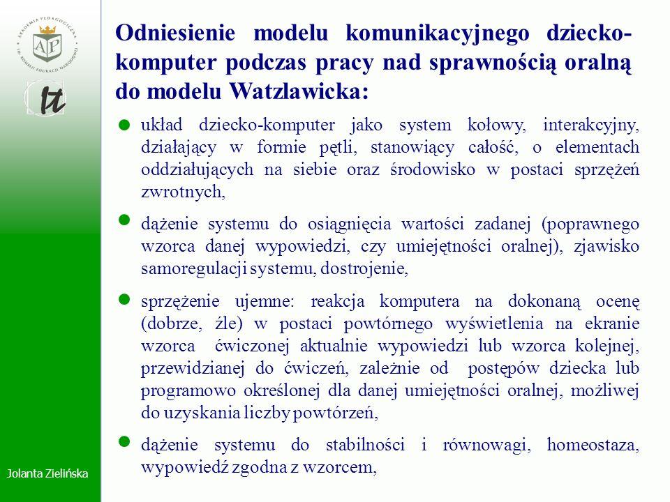 Odniesienie modelu komunikacyjnego dziecko-komputer podczas pracy nad sprawnością oralną do modelu Watzlawicka: