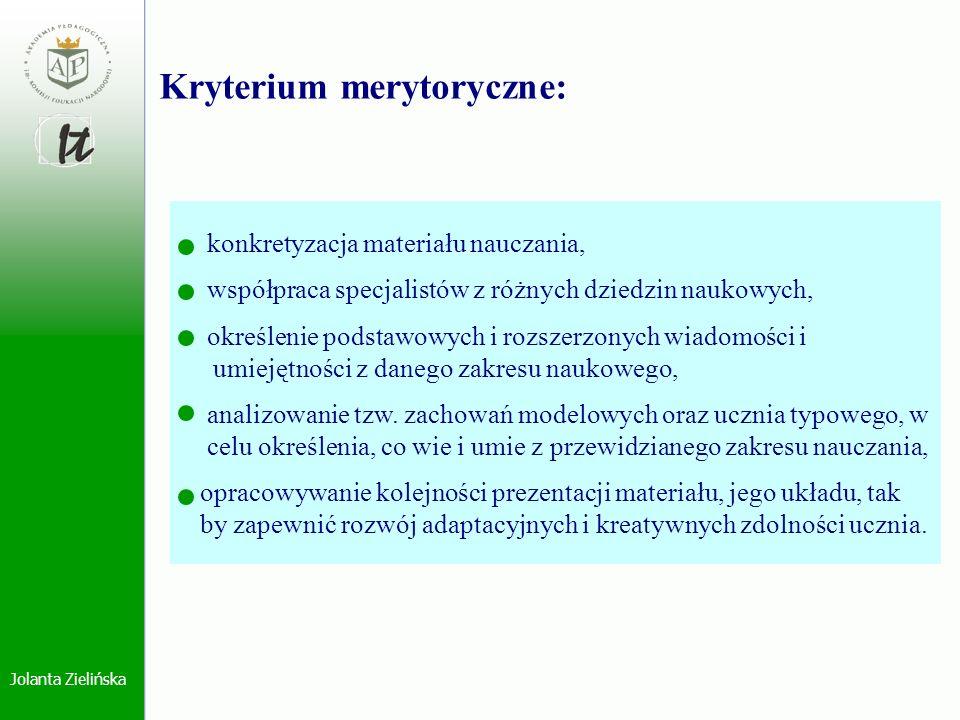 Kryterium merytoryczne: