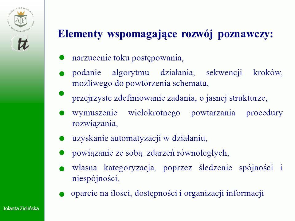 Elementy wspomagające rozwój poznawczy: