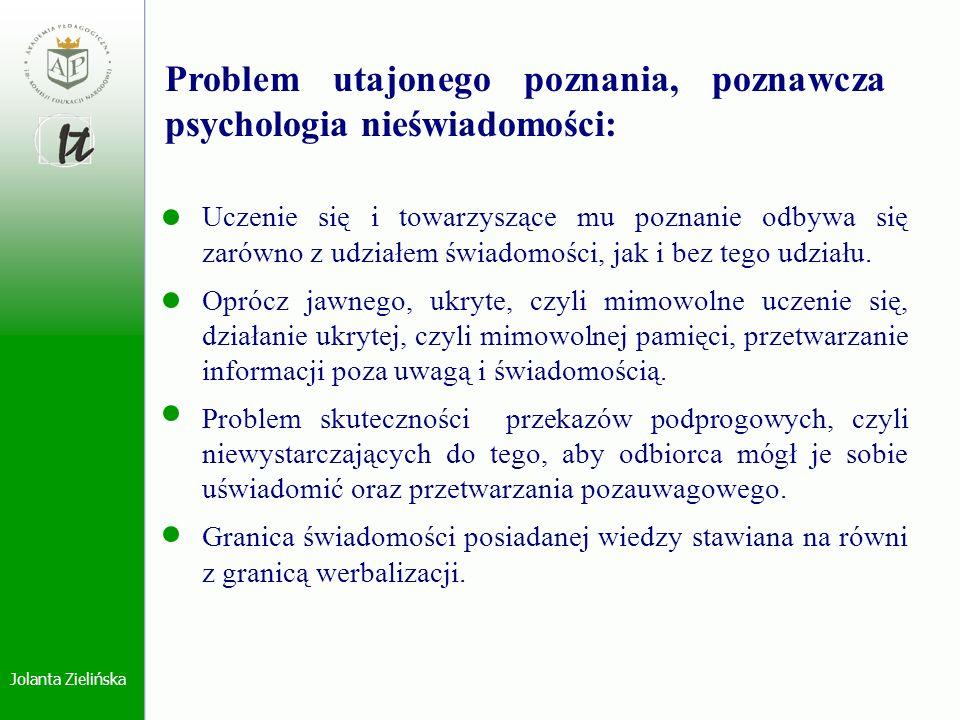 Problem utajonego poznania, poznawcza psychologia nieświadomości: