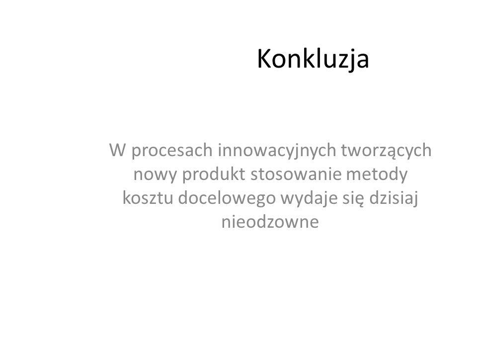 KonkluzjaW procesach innowacyjnych tworzących nowy produkt stosowanie metody kosztu docelowego wydaje się dzisiaj nieodzowne.