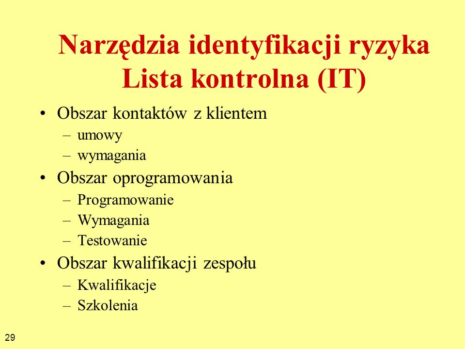 Narzędzia identyfikacji ryzyka Lista kontrolna (IT)
