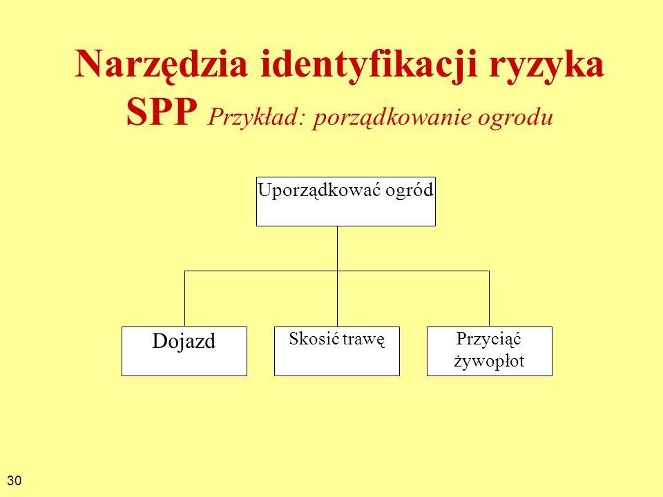 Narzędzia identyfikacji ryzyka SPP Przykład: porządkowanie ogrodu