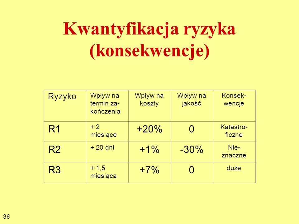 Kwantyfikacja ryzyka (konsekwencje)
