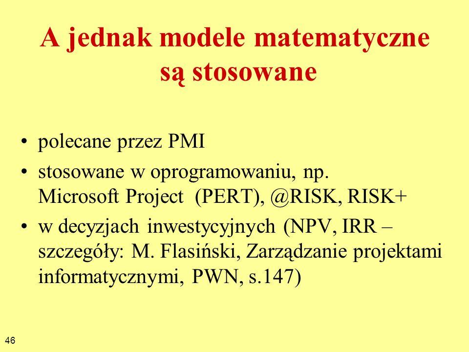 A jednak modele matematyczne są stosowane