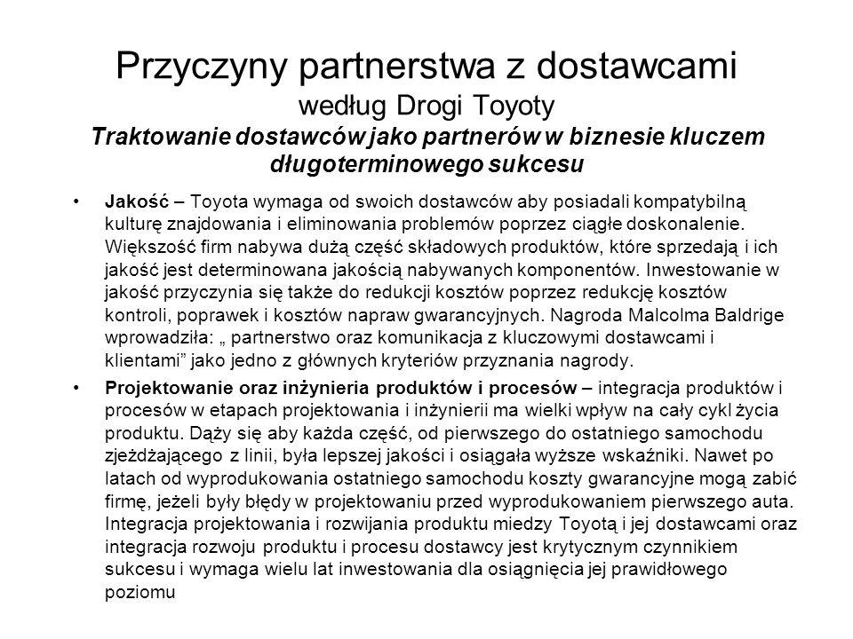 Przyczyny partnerstwa z dostawcami według Drogi Toyoty Traktowanie dostawców jako partnerów w biznesie kluczem długoterminowego sukcesu