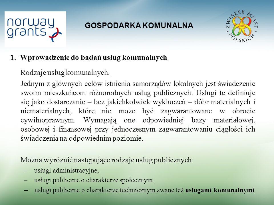 1. Wprowadzenie do badań usług komunalnych Rodzaje usług komunalnych.