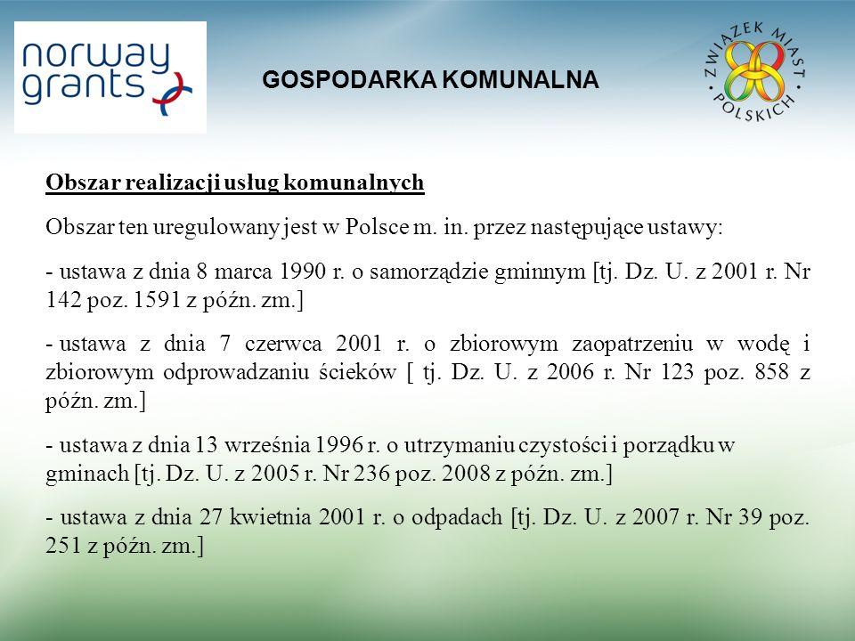 GOSPODARKA KOMUNALNA Obszar realizacji usług komunalnych. Obszar ten uregulowany jest w Polsce m. in. przez następujące ustawy: