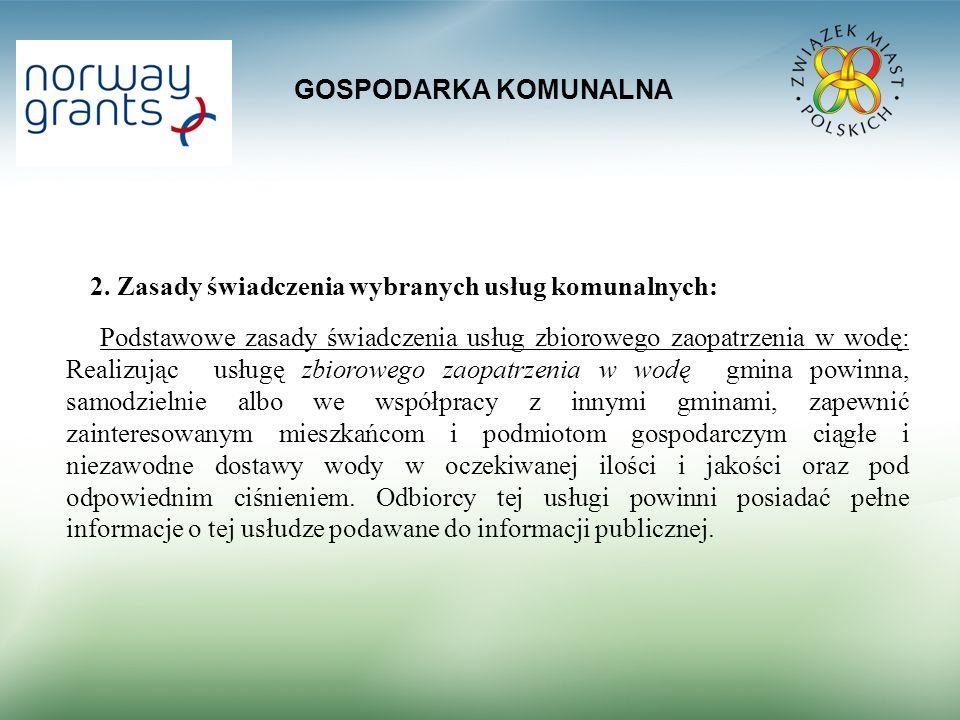 GOSPODARKA KOMUNALNA 2. Zasady świadczenia wybranych usług komunalnych: