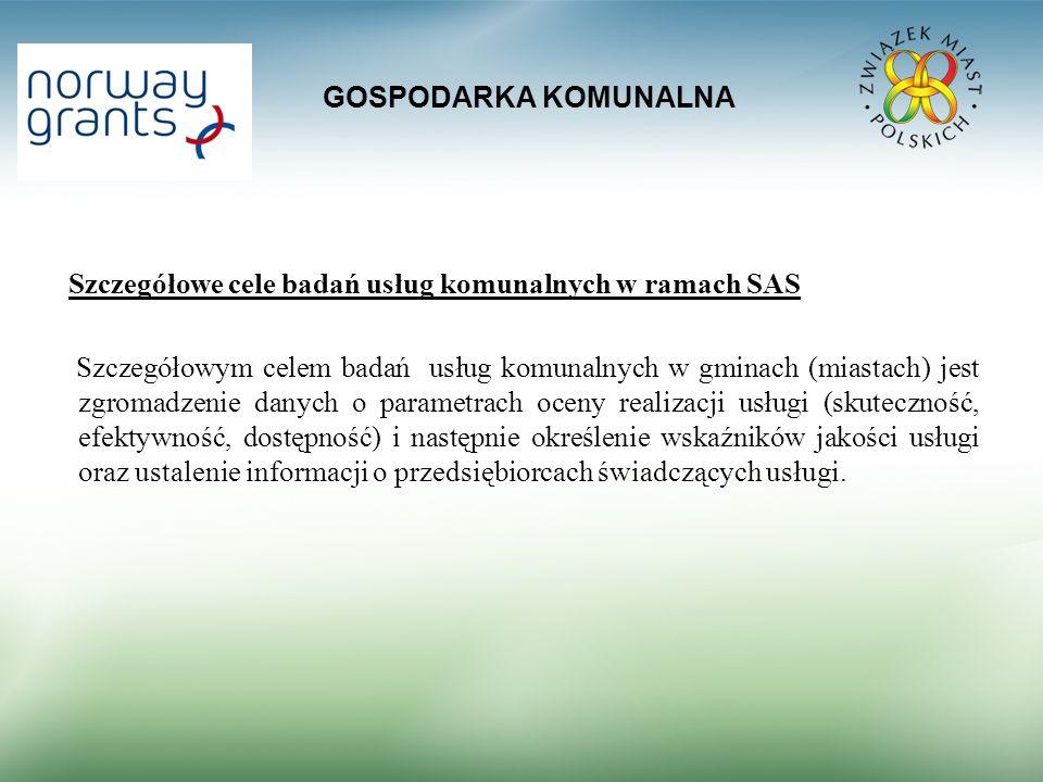 GOSPODARKA KOMUNALNA Szczegółowe cele badań usług komunalnych w ramach SAS.