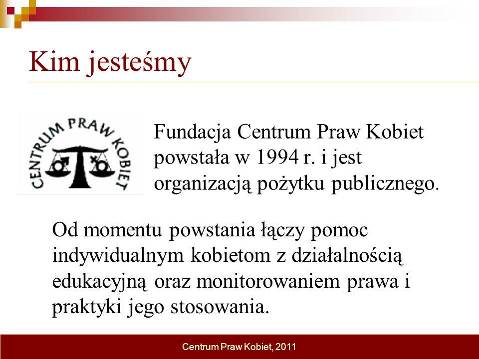 Kim jesteśmy Fundacja Centrum Praw Kobiet powstała w 1994 r. i jest organizacją pożytku publicznego.