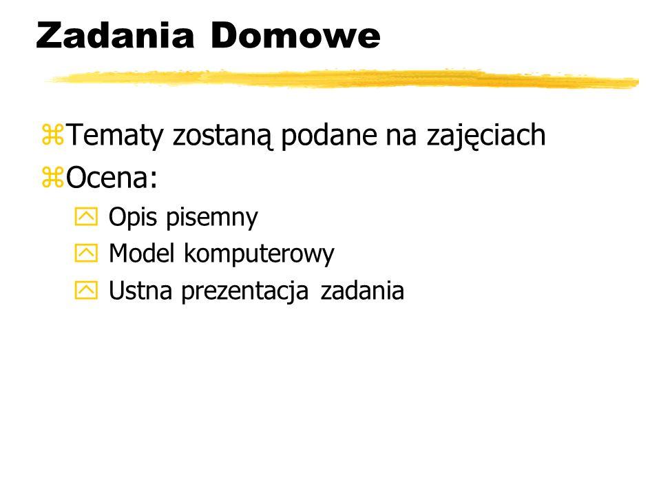 Zadania Domowe Tematy zostaną podane na zajęciach Ocena: Opis pisemny