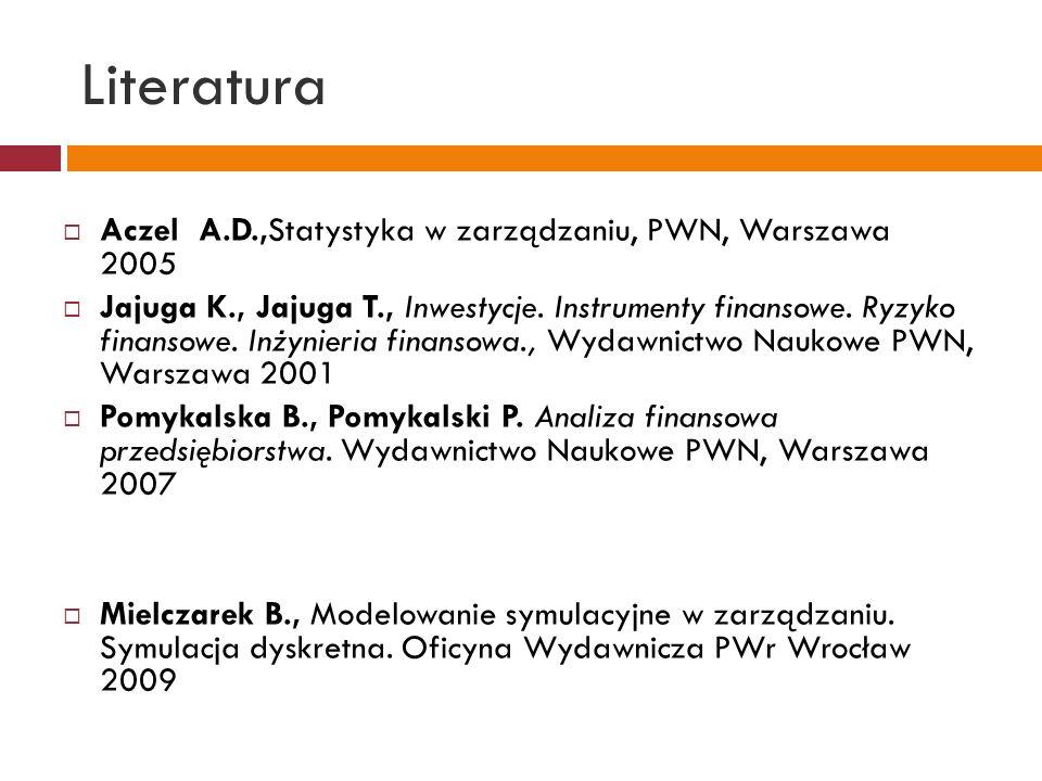 Literatura Aczel A.D.,Statystyka w zarządzaniu, PWN, Warszawa 2005