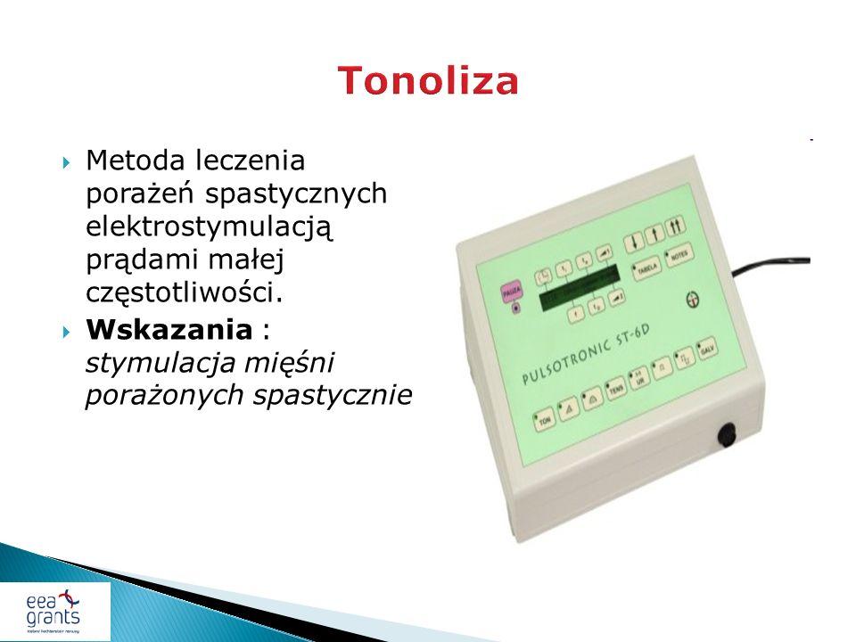 Tonoliza Metoda leczenia porażeń spastycznych elektrostymulacją prądami małej częstotliwości.