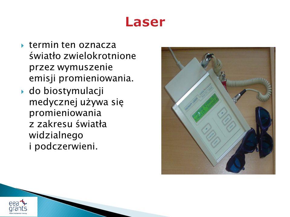 Laser termin ten oznacza światło zwielokrotnione przez wymuszenie emisji promieniowania.