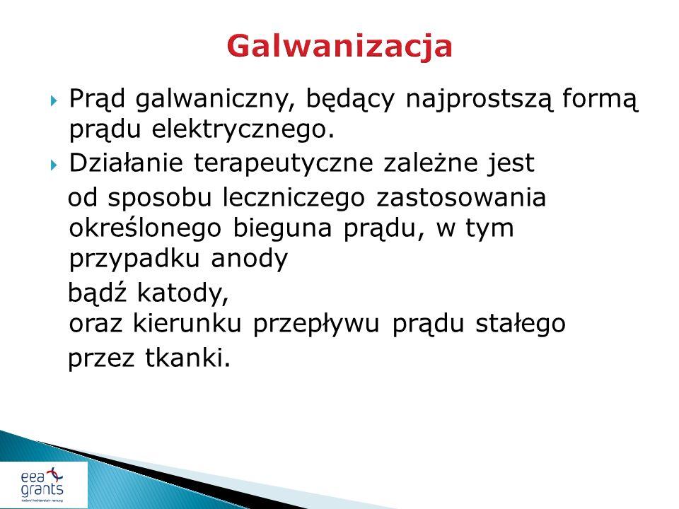 Galwanizacja Prąd galwaniczny, będący najprostszą formą prądu elektrycznego. Działanie terapeutyczne zależne jest.