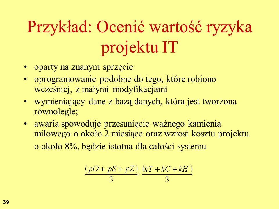 Przykład: Ocenić wartość ryzyka projektu IT