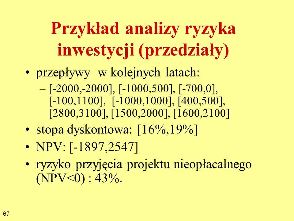 Przykład analizy ryzyka inwestycji (przedziały)