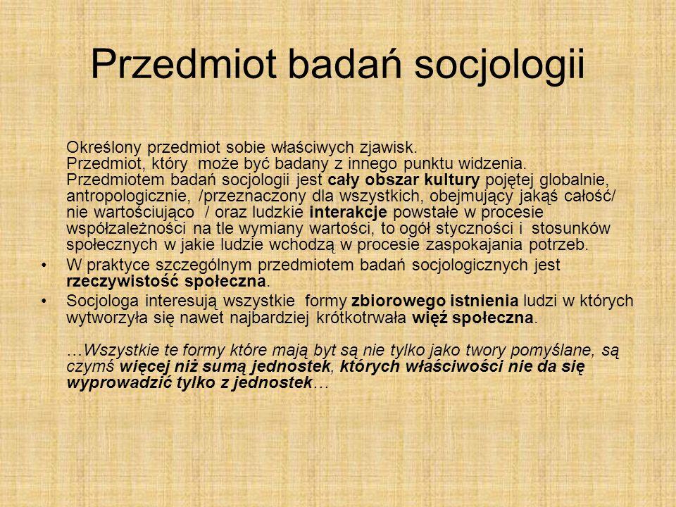 Przedmiot badań socjologii