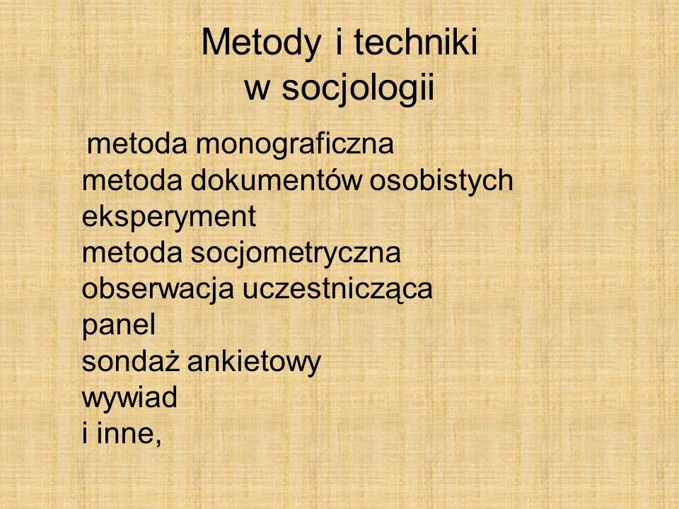 Metody i techniki w socjologii