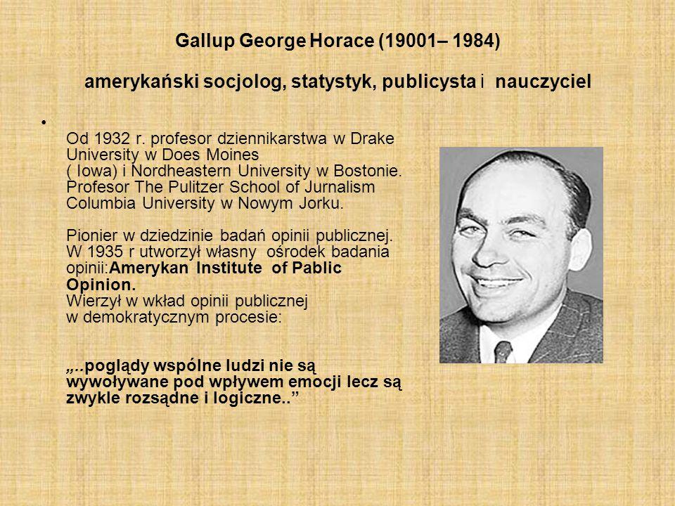 Gallup George Horace (19001– 1984) amerykański socjolog, statystyk, publicysta i nauczyciel
