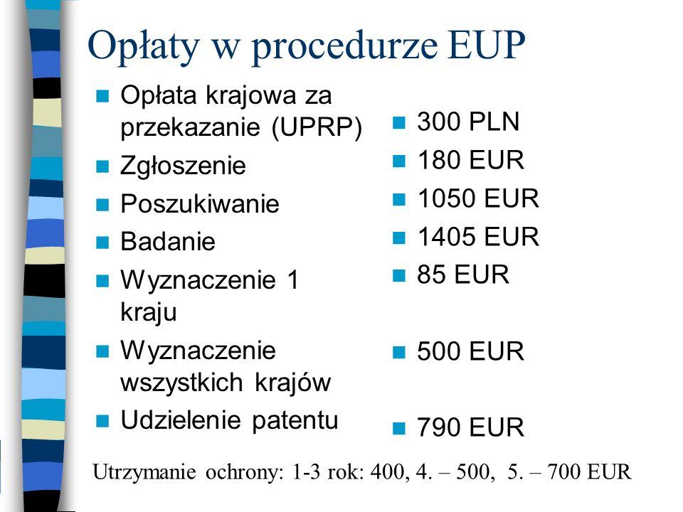 Opłaty w procedurze EUP