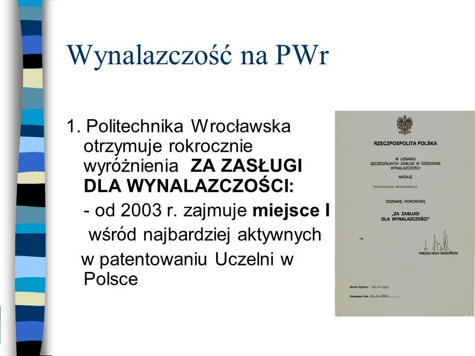 Wynalazczość na PWr 1. Politechnika Wrocławska otrzymuje rokrocznie wyróżnienia ZA ZASŁUGI DLA WYNALAZCZOŚCI: