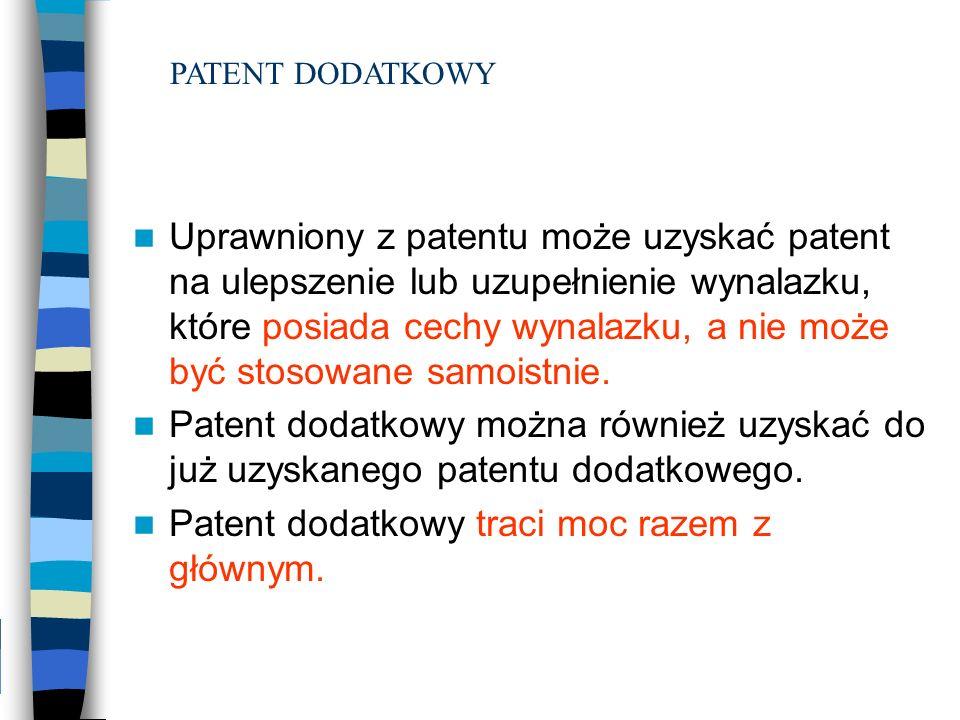 Patent dodatkowy traci moc razem z głównym.