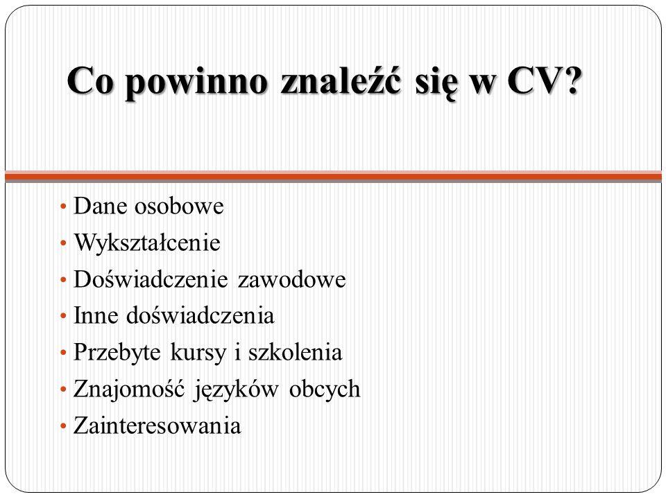 Co powinno znaleźć się w CV