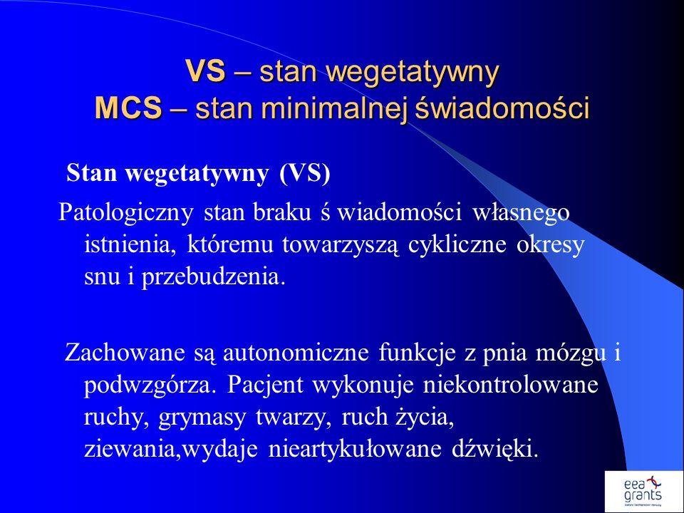 VS – stan wegetatywny MCS – stan minimalnej świadomości
