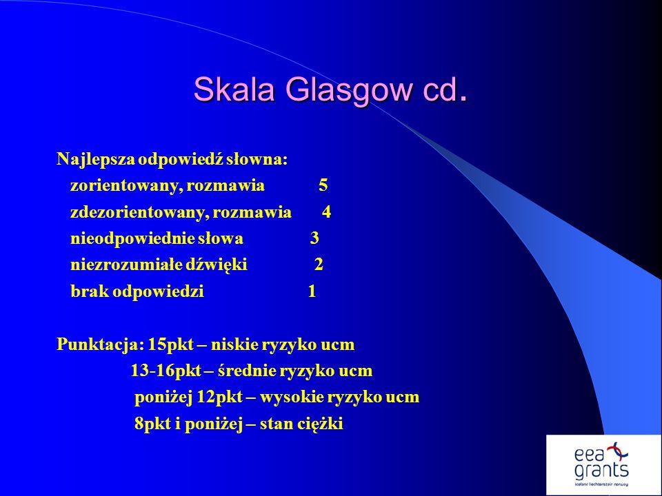 Skala Glasgow cd. Najlepsza odpowiedź słowna: zorientowany, rozmawia 5