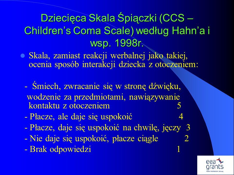 Dziecięca Skala Śpiączki (CCS – Children's Coma Scale) według Hahn'a i wsp. 1998r.