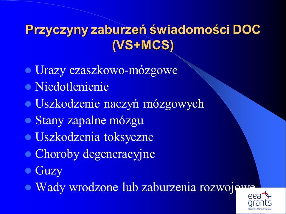 Przyczyny zaburzeń świadomości DOC (VS+MCS)