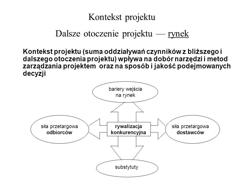 Kontekst projektu Dalsze otoczenie projektu — rynek
