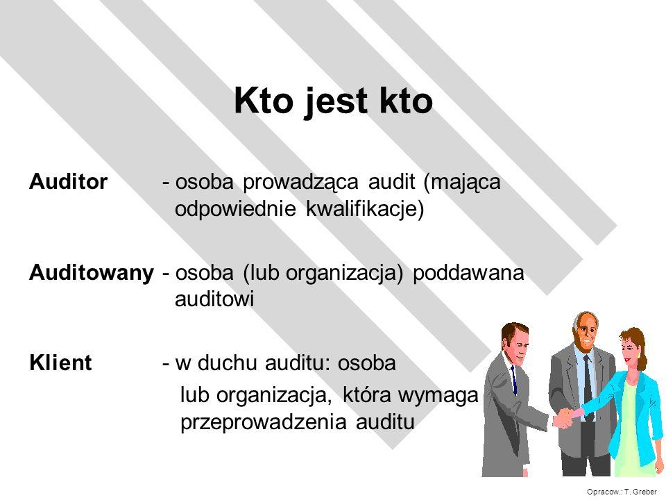 Kto jest kto Auditor - osoba prowadząca audit (mająca odpowiednie kwalifikacje) Auditowany - osoba (lub organizacja) poddawana auditowi.