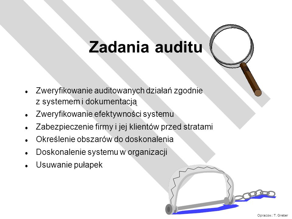 Zadania auditu Zweryfikowanie auditowanych działań zgodnie z systemem i dokumentacją. Zweryfikowanie efektywności systemu.
