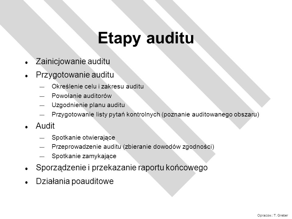 Etapy auditu Zainicjowanie auditu Przygotowanie auditu Audit
