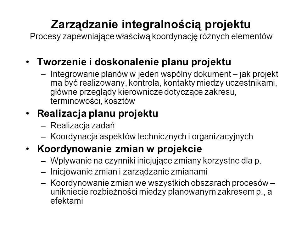 Zarządzanie integralnością projektu Procesy zapewniające właściwą koordynację różnych elementów
