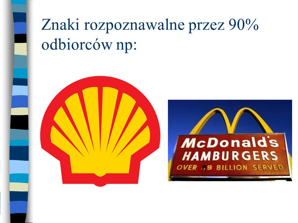 Znaki rozpoznawalne przez 90% odbiorców np: