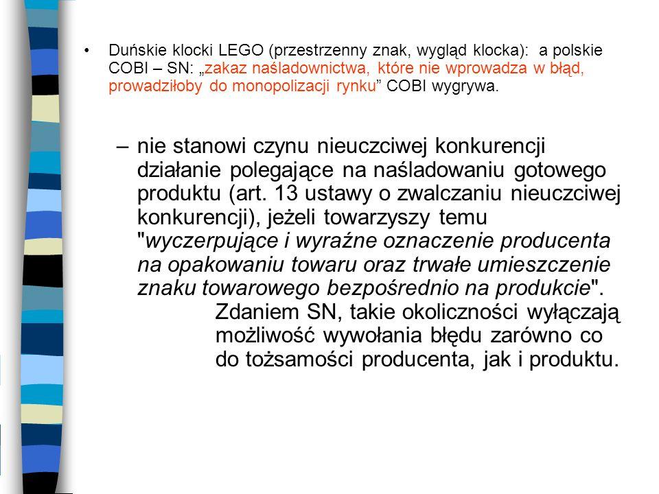 """Duńskie klocki LEGO (przestrzenny znak, wygląd klocka): a polskie COBI – SN: """"zakaz naśladownictwa, które nie wprowadza w błąd, prowadziłoby do monopolizacji rynku COBI wygrywa."""