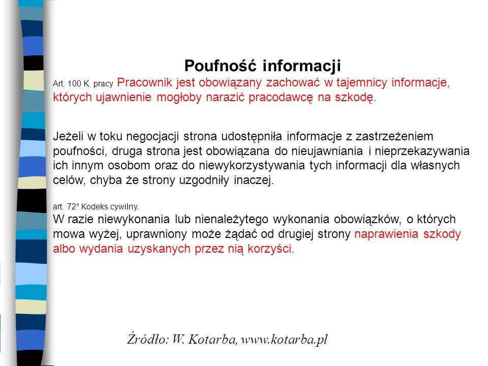 Poufność informacji Źródło: W. Kotarba, www.kotarba.pl