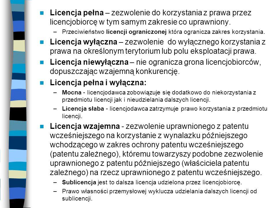 Licencja pełna i wyłączna: