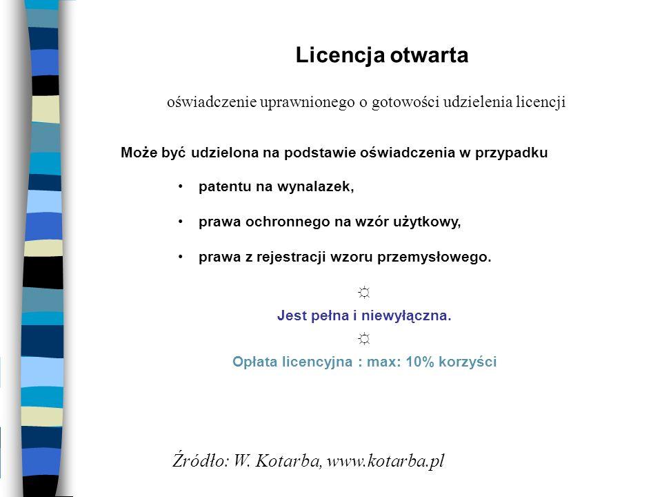 Opłata licencyjna : max: 10% korzyści