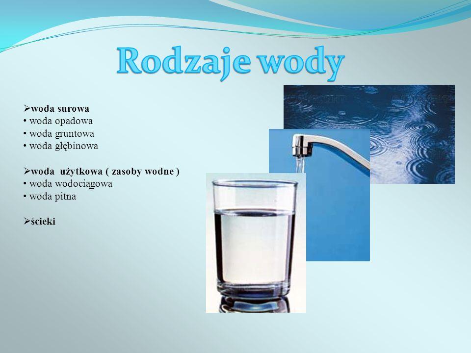 Rodzaje wody woda surowa woda opadowa woda gruntowa woda głębinowa