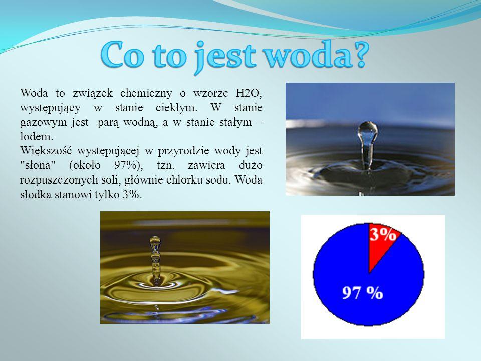 Co to jest woda Woda to związek chemiczny o wzorze H2O, występujący w stanie ciekłym. W stanie gazowym jest parą wodną, a w stanie stałym – lodem.