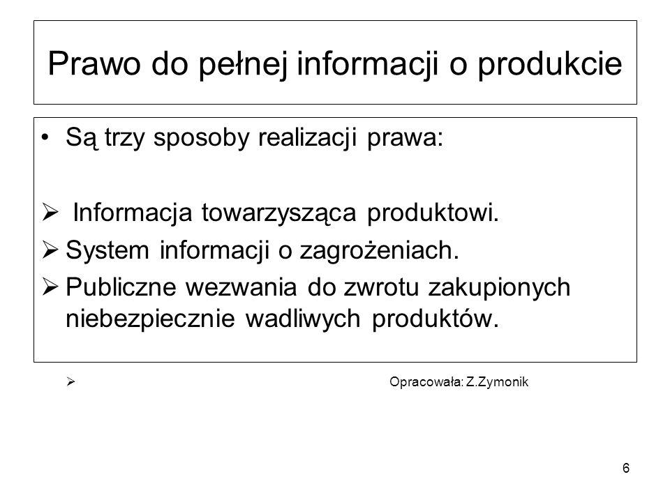 Prawo do pełnej informacji o produkcie