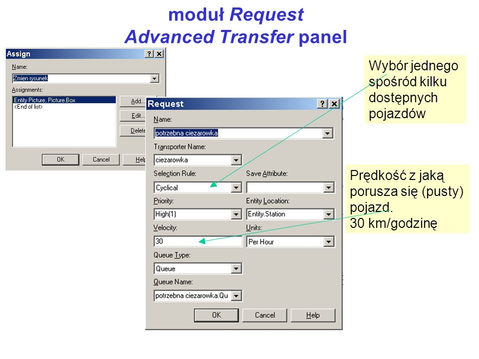 moduł Request Advanced Transfer panel