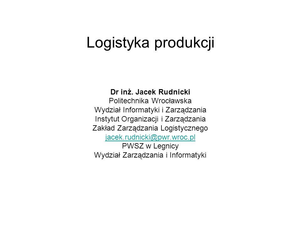 Logistyka produkcji Dr inż. Jacek Rudnicki Politechnika Wrocławska