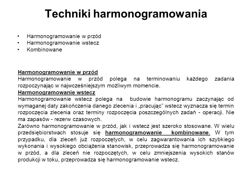 Techniki harmonogramowania
